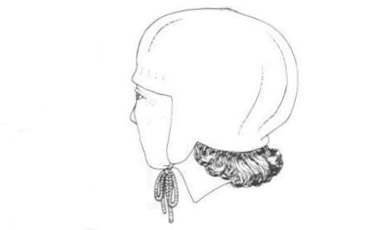 Drawing of female hat made by nålebinding  technique.