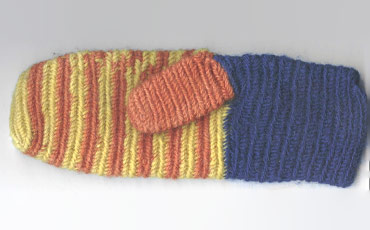 Mitten from Eura. Colors red, yellow and blue.